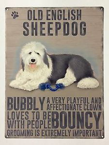 Old English Sheepdog Metal Sign