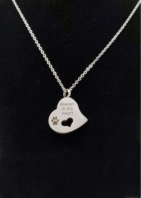 Pet Heart Cremation  Ashes Necklace