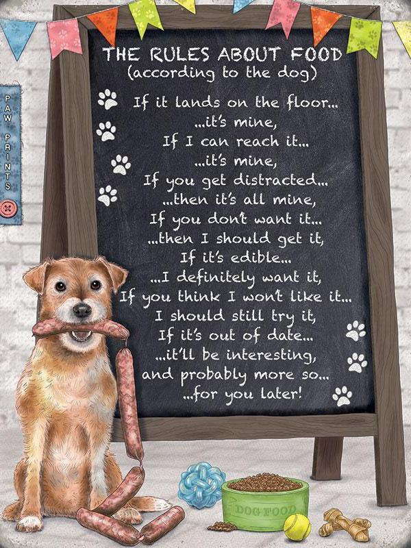 Rules About Food Dog Wall Sign