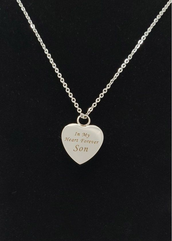 Son Heart Cremation Ashes  Necklace
